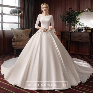 The Pristine Wedding Bridal Satin Long Sleeves Gown - WeddingConfetti