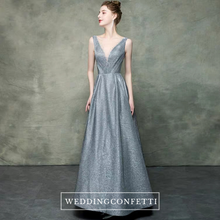 Load image into Gallery viewer, The Ianna Grey Illusion Neckline Sleeveless Gown - WeddingConfetti
