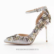 Load image into Gallery viewer, Wedding Bridal Floral Gold / Silver Heels - WeddingConfetti