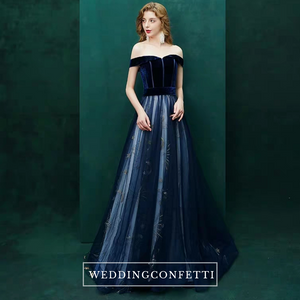 The Celia Ombre Blue Off Shoulder Gown - WeddingConfetti