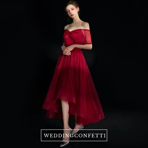 The Quioxte Red Off Shoulder Dress - WeddingConfetti