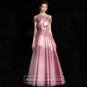 The Aurora Off Shoulder Pink Satin Gown - WeddingConfetti