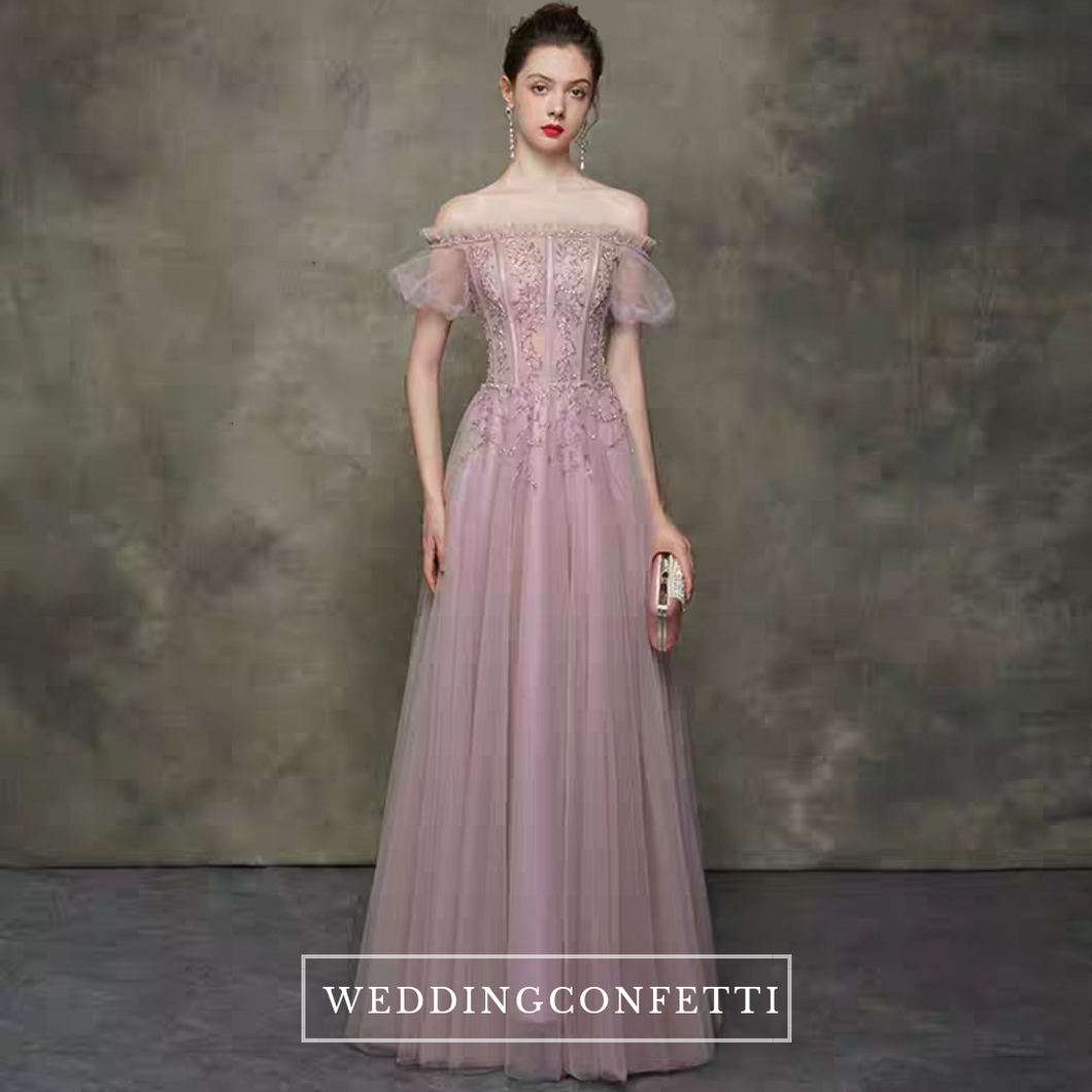 The Clara Pink Off Shoulder Gown - WeddingConfetti