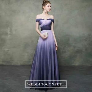 The Raynard Purple Ombre Off Shoulder Gown - WeddingConfetti