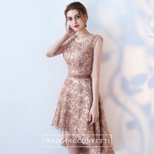 Load image into Gallery viewer, The Rikka Gold Hi Low Sleeveless Dress - WeddingConfetti