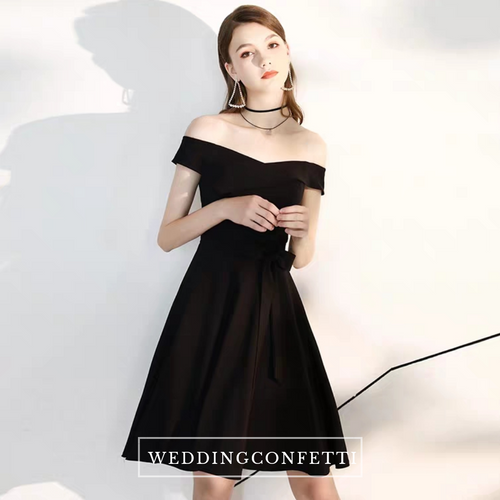 The Phoebe Off Shoulder Black Dress - WeddingConfetti