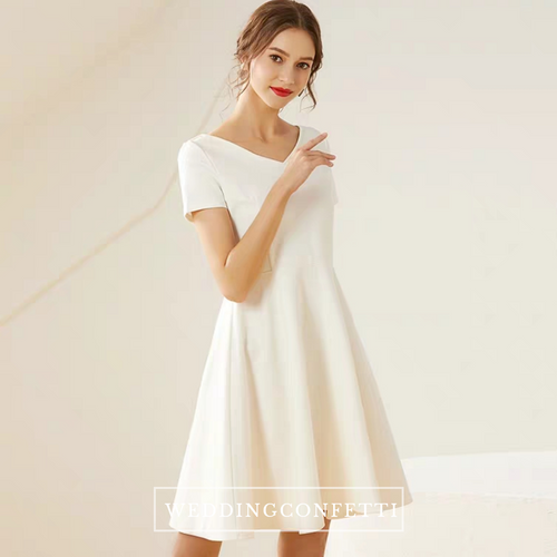 The Mary White Short Sleeeves Dress (Available in Long Sleeves) - WeddingConfetti