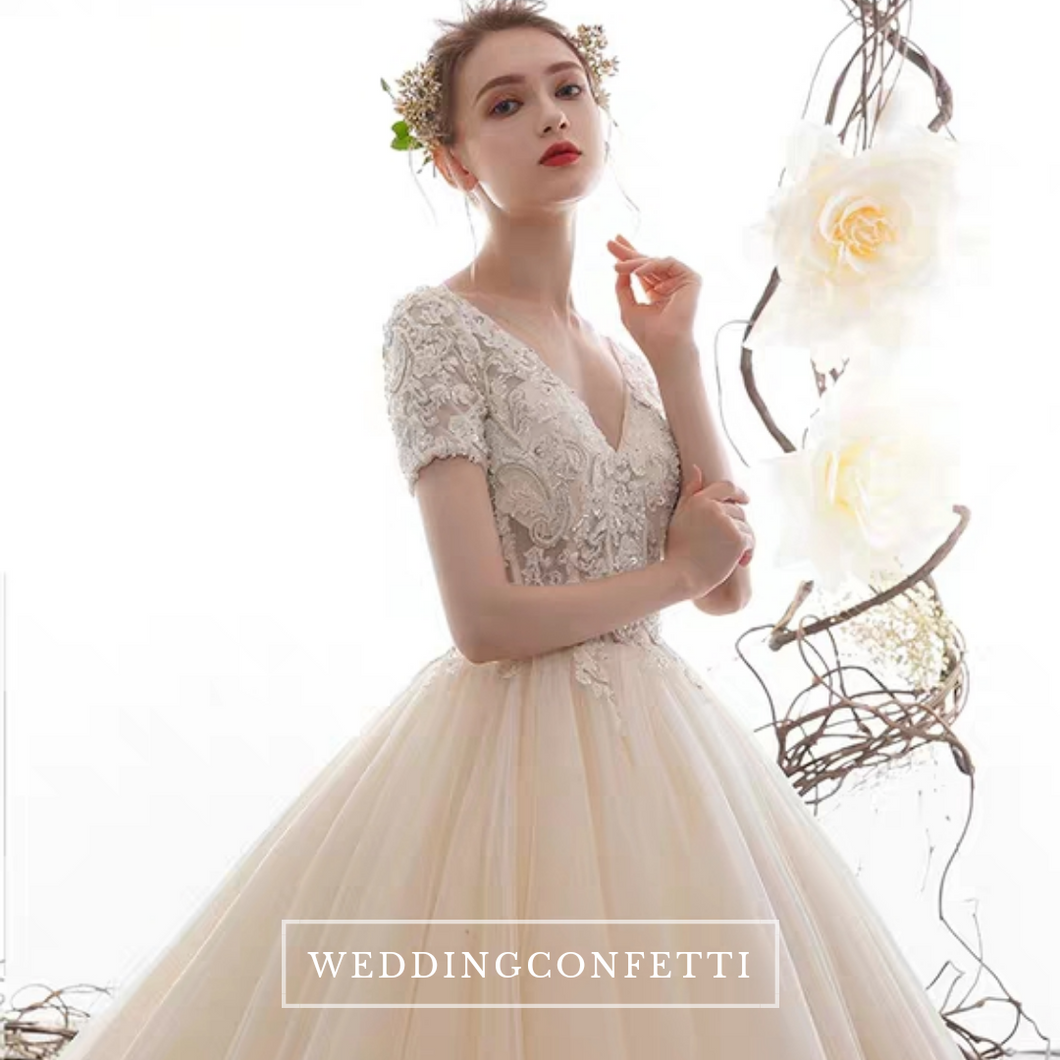 The Daisy Wedding Bridal Short Sleeves Gown - WeddingConfetti