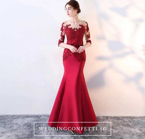 The Rerenza Wine Red Illusion Sleeves Gown - WeddingConfetti