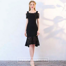 Load image into Gallery viewer, The Keridia Off Shoulder Black / Red Lace Dress (Available In 2 Colours) - WeddingConfetti