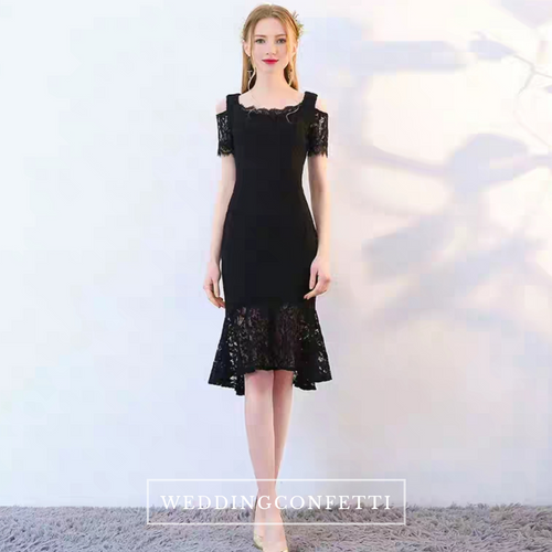 The Keridia Off Shoulder Black / Red Lace Dress (Available In 2 Colours) - WeddingConfetti