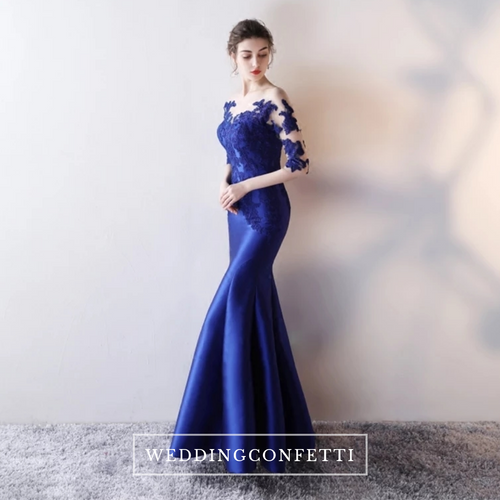 The Rerenza Royal Blue Illusion Neckline Gown - WeddingConfetti