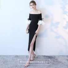 Load image into Gallery viewer, The Fayth Cocktail Black Trumpet Sleeves Dress - WeddingConfetti