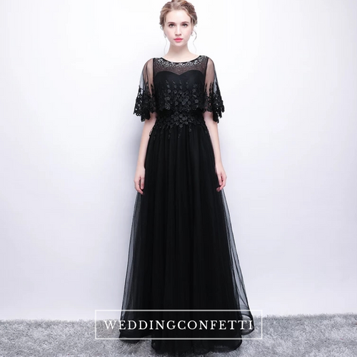 The Cecily Lace Black Illusion Sleeves Gown - WeddingConfetti