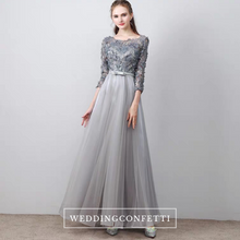 Load image into Gallery viewer, The Tania Grey Long Sleeves Gown - WeddingConfetti