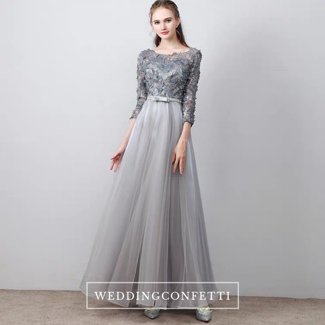 The Tania Grey Long Sleeves Gown - WeddingConfetti
