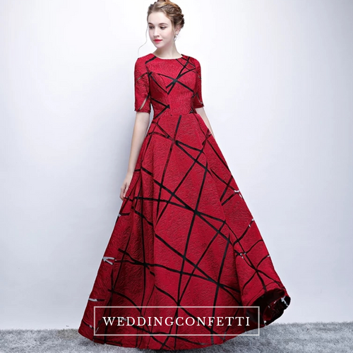 The Eliza Red Long Sleeves Dress - WeddingConfetti