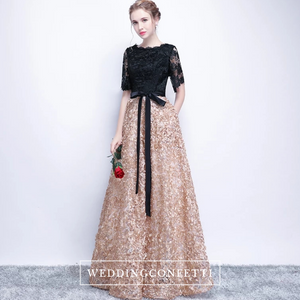 The Charlize Floral Lace Black & Gold Long Sleeves Gown - WeddingConfetti