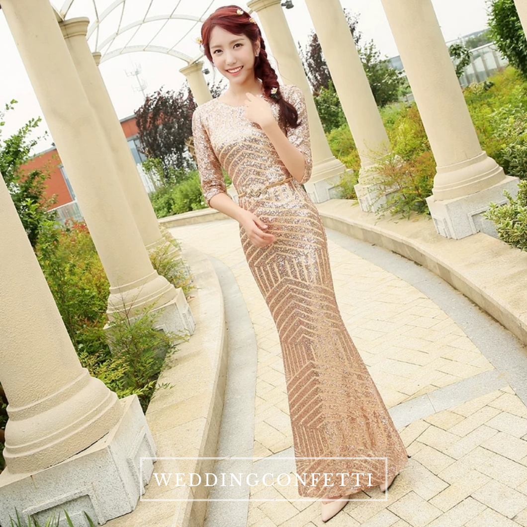 The Giovana Gold Long Sleeves Lace Evening Gown - WeddingConfetti