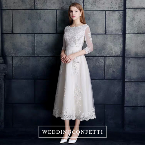 The Berenda Boat Neck Lace Sleeves Dress - WeddingConfetti