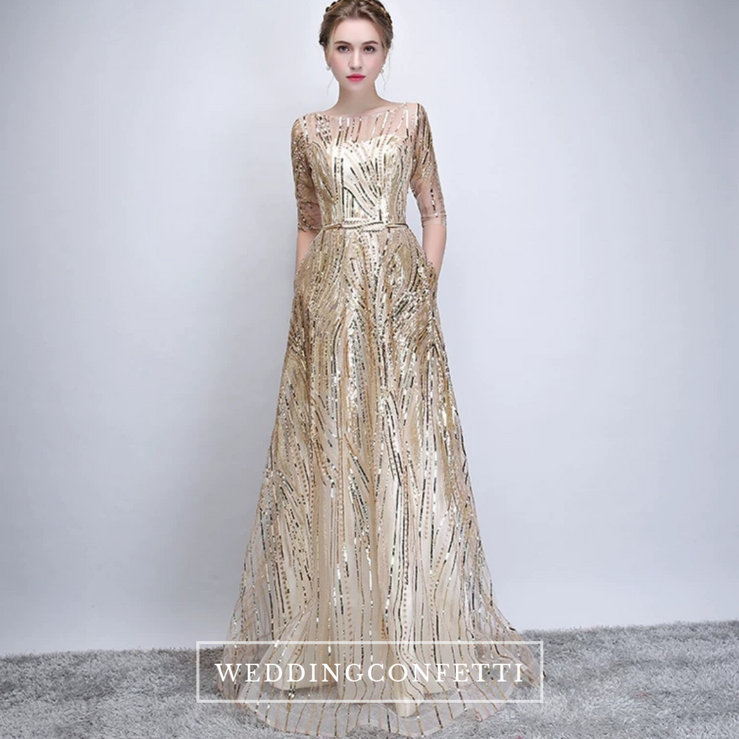 The Janicia Gold Long Sleeves Gown - WeddingConfetti