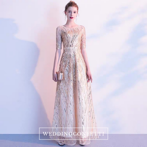 The Belle Long Sleeves Gold Gown - WeddingConfetti