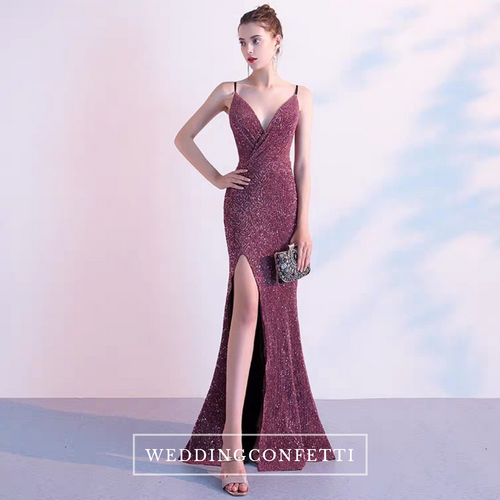 The Pera Sequined Purple Gown - WeddingConfetti
