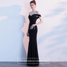 Load image into Gallery viewer, The Tiffanie Black Off Shoulder Gown - WeddingConfetti