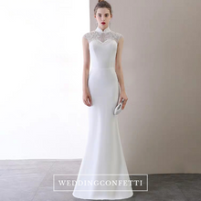 Load image into Gallery viewer, The Katherine Cheongsam Mandarin Collar White Gown - WeddingConfetti