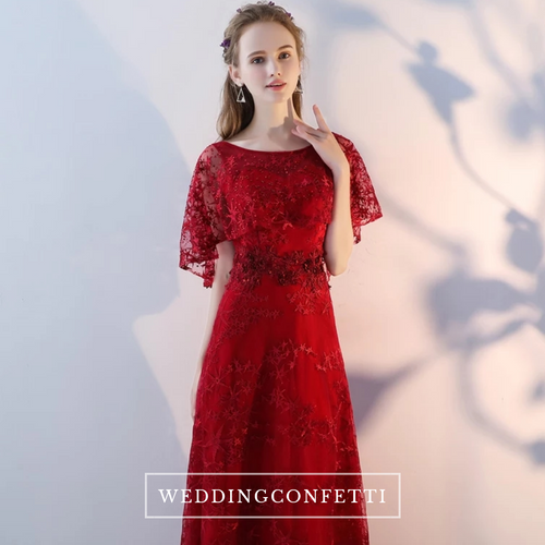 The Elanie Flare Sleeves Red Gown - WeddingConfetti
