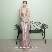 Load image into Gallery viewer, The Armella Rose Gold / Blue Sleeveless Evening Gown (Available in Blue and Gold) - WeddingConfetti