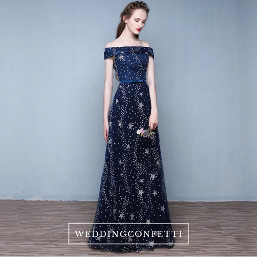 The Cassiopeia Off Shoulder Blue Gown - WeddingConfetti