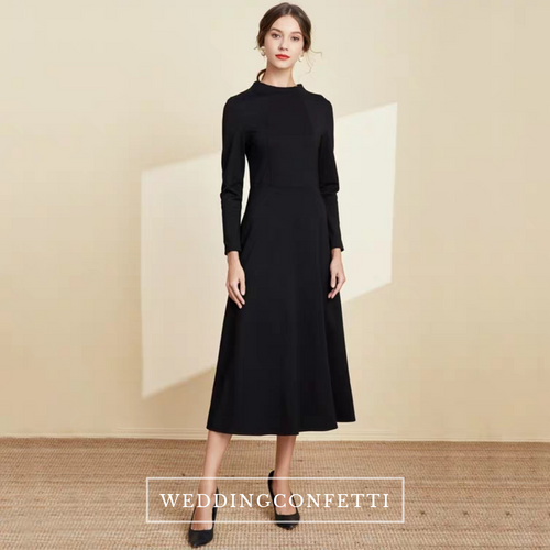 The Linda Black Short/Long Sleeves Dress - WeddingConfetti