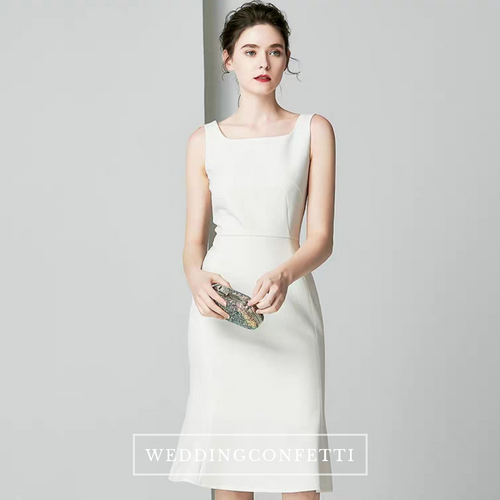 The Kalli Sleeveless White Short Midi Dress - WeddingConfetti
