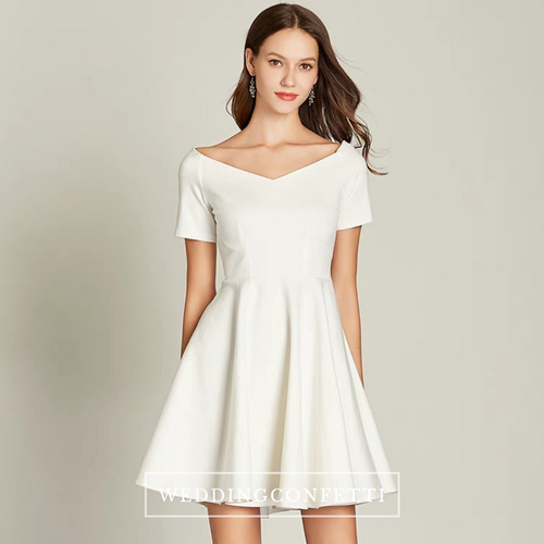 The Vichy White Off Shoulder Short Dress - WeddingConfetti
