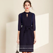 Load image into Gallery viewer, The Nora High Cut Out Collar Short Navy Blue Dress - WeddingConfetti