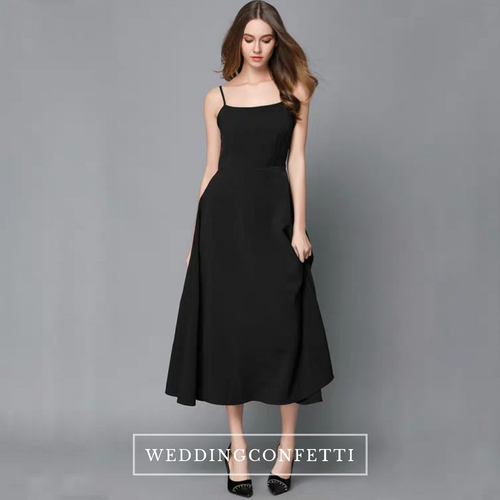 The Alex Sleeveless Midi Black Dress - WeddingConfetti
