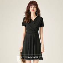Load image into Gallery viewer, The Vanesse Black Short Sleeves Dress - WeddingConfetti