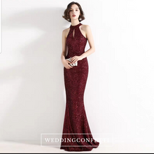 Load image into Gallery viewer, The Lilian Gold Sequined Halter Gown (Available in 2 colours) - WeddingConfetti