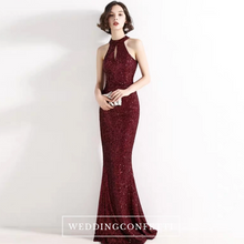 Load image into Gallery viewer, The Lilian Wine Red Sequined Halter Gown (Available in 2 colours) - WeddingConfetti
