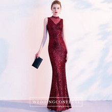 Load image into Gallery viewer, The Anna Marie High Collar Wine Red Sleeveless Gown - WeddingConfetti
