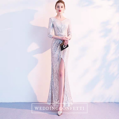 The Gina Silver Sequined Long Sleeves Gown - WeddingConfetti