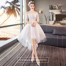 Load image into Gallery viewer, The Ryndel Off Shoulder High Low Gown (Available in long and short sleeves) - WeddingConfetti
