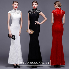 Load image into Gallery viewer, The Hensla Cheongsam Mandarin Collar Red/White/Black Gown - WeddingConfetti