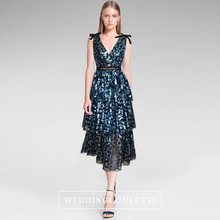 Load image into Gallery viewer, The Makayla Sequined Blue Sleeveless Gown - WeddingConfetti