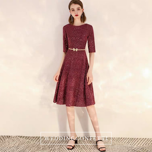 The Dianthe Short Sleeve Wine Red Sequined Dress - WeddingConfetti