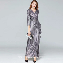Load image into Gallery viewer, The Terra Silver Grey Long Sleeves Dress - WeddingConfetti