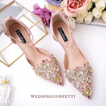 Load image into Gallery viewer, Wedding Champagne Heels with Beadings - WeddingConfetti
