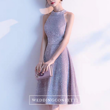 Load image into Gallery viewer, The Jeulia Silver Halter Sequined Dress - WeddingConfetti