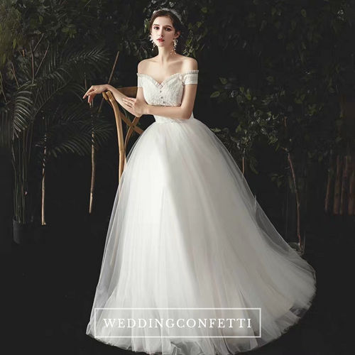 The Norgan Wedding Bridal Off Shoulder Gown - WeddingConfetti